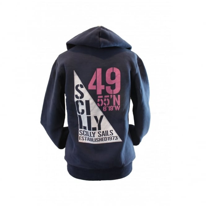 Ladies Organic Cotton Supersoft Scilly Sails Hoodie Navy