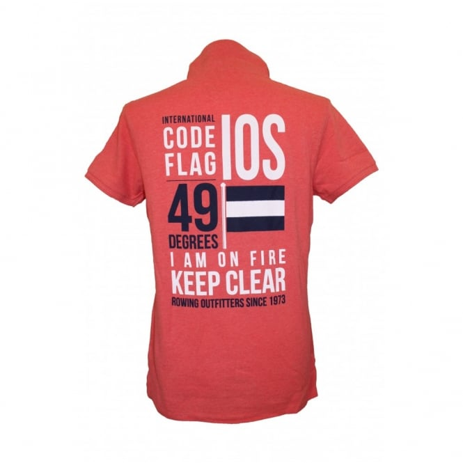 Mens Code flag pique polo heather red