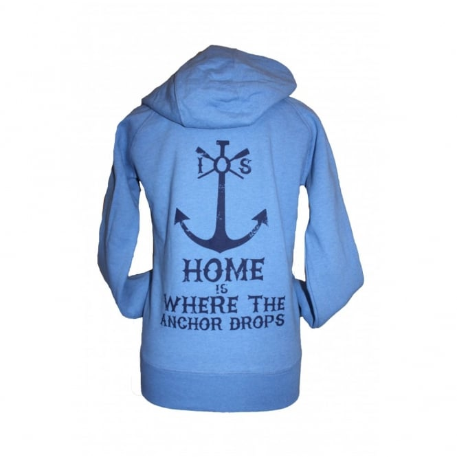 Ladies Anchor Drops Organic Cotton Hoodie heather blue