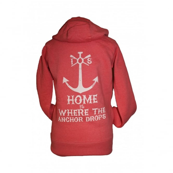 Ladies Anchor Drops Organic Cotton Hoodie heather red