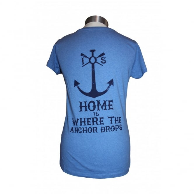 Ladies Organic cotton Anchor Drops tee heather blue