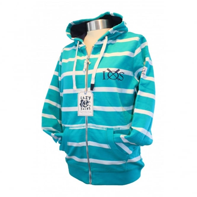 Lazy Jacks Ladies Full Zip Stripe GBR Hoodie jade