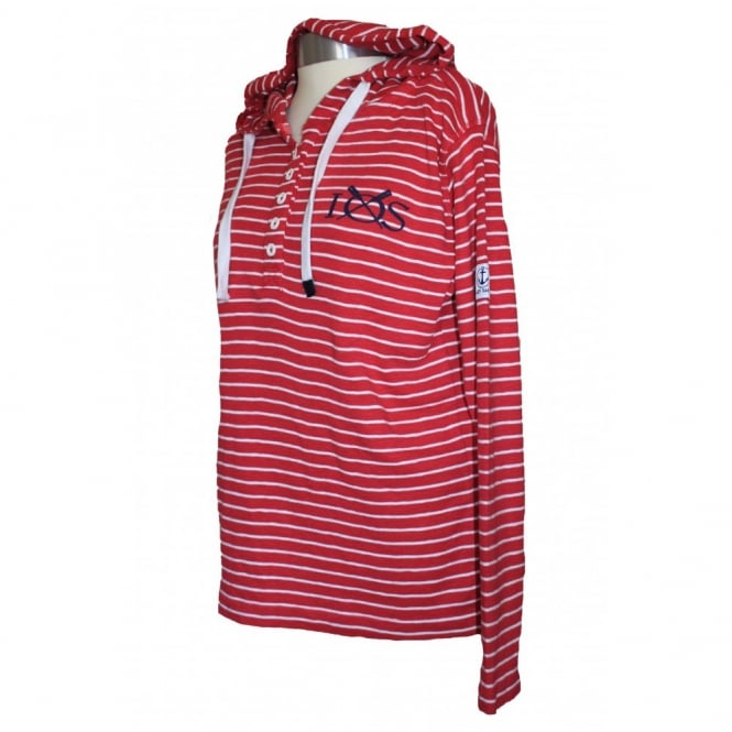 Lazy Jacks Ladies Narrow Stripe Hoodie cherry