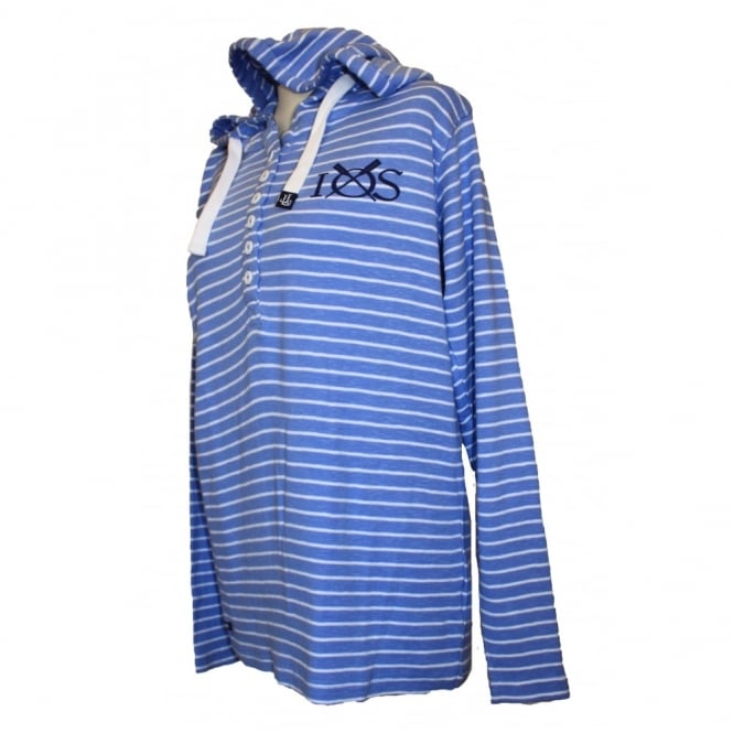Lazy Jacks Ladies Narrow Stripe Hoodie bluebell