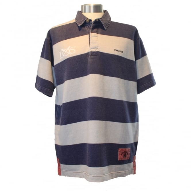 Edward Heavies Mens Edwards Heavies Striped Rugby Shirt Washed Navy/Ecru