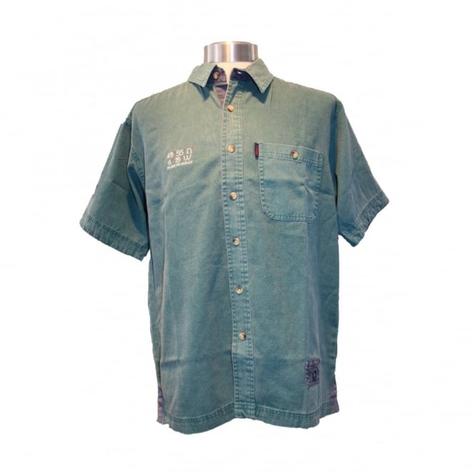 Edward Heavies Button Through Mens Shirt- Aqua