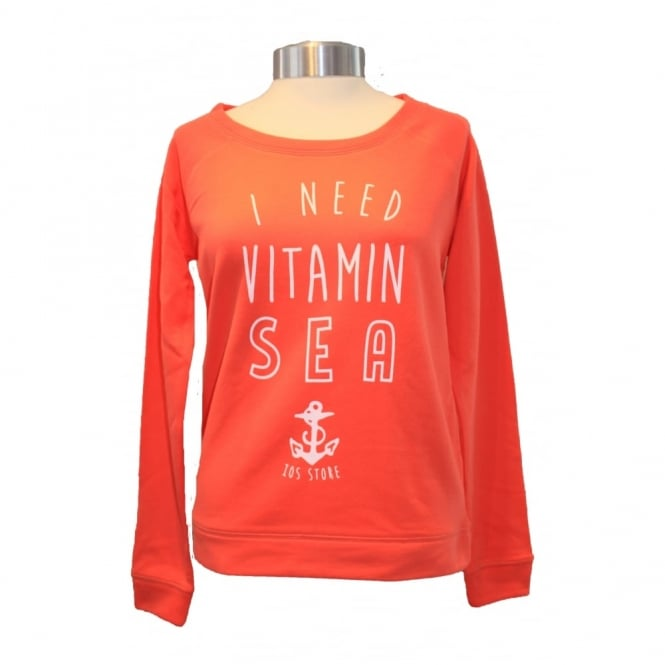 Ladies Vitamin Sea Slouch Sweat coral