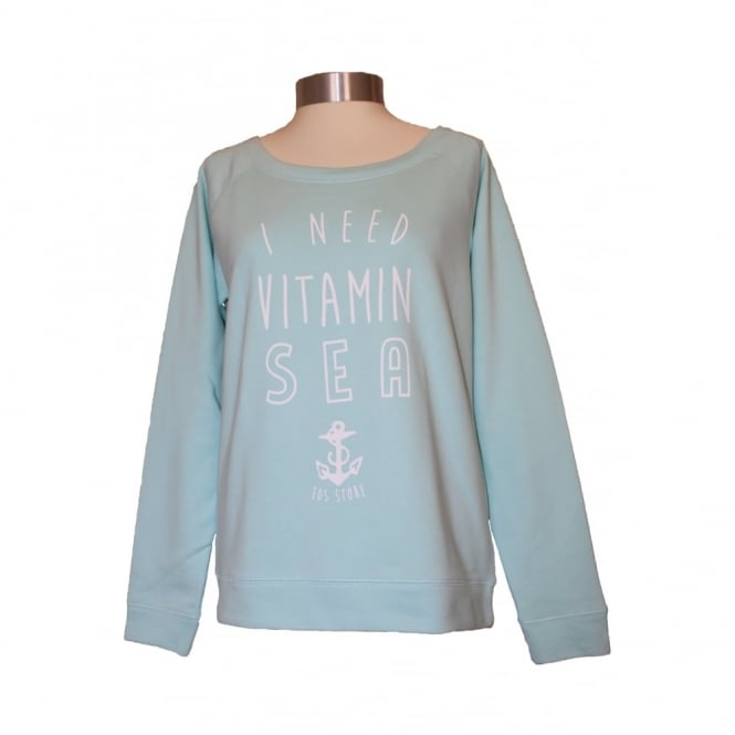 Ladies Vitamin Sea Slouch Sweat Caribbean Blue