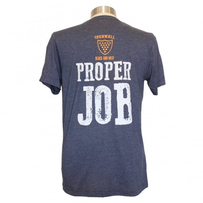 Black and Gold Mens Proper Job Tee heather navy