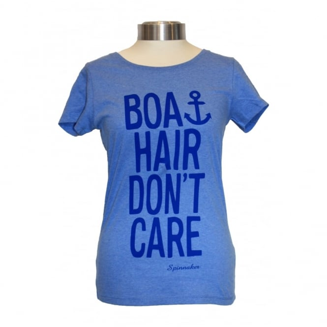 Black and Gold Ladies Organic Boat Hair Tee blue