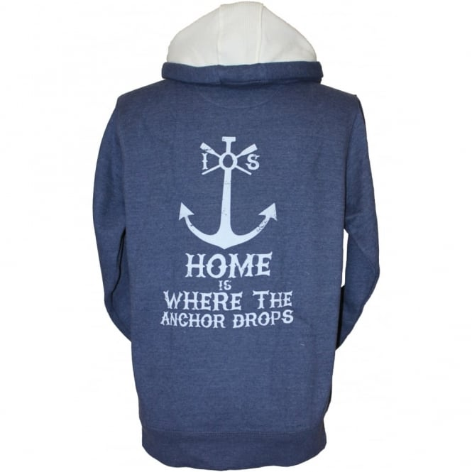 Mens Supersoft Anchor Drops Hoodie heather navy
