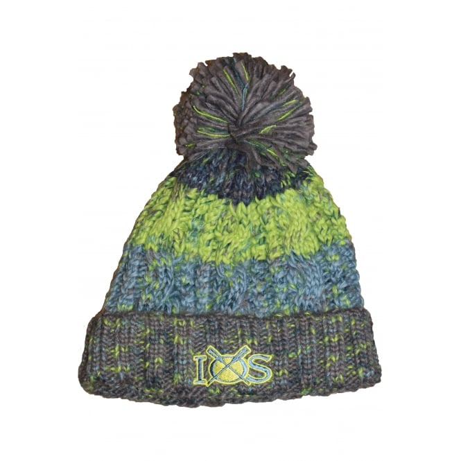 Beechfield Unisex Corkscrew Pom Pom Beanie Electric Grey & Green