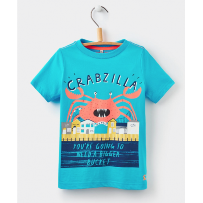 Joules Boys Ben Screen Print T-shirt Blue Crab