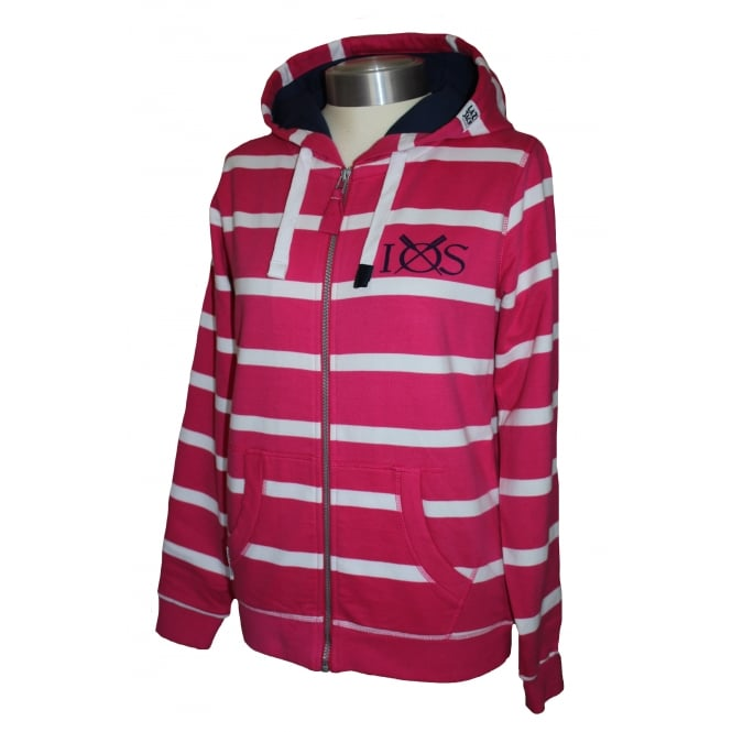 Lazy Jacks Ladies Fitted Hooded Stripe Full Zip Lipstick