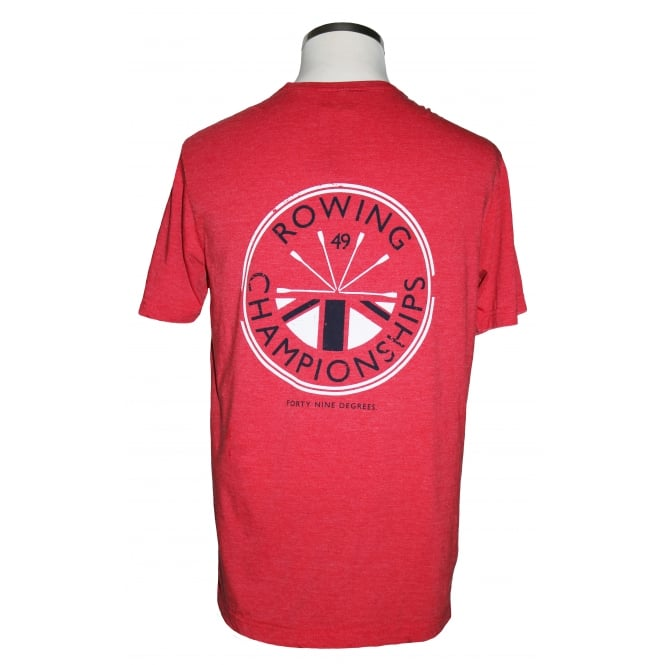 AWDI Mens Rowing Champs T-Shirt Washed Fire Red