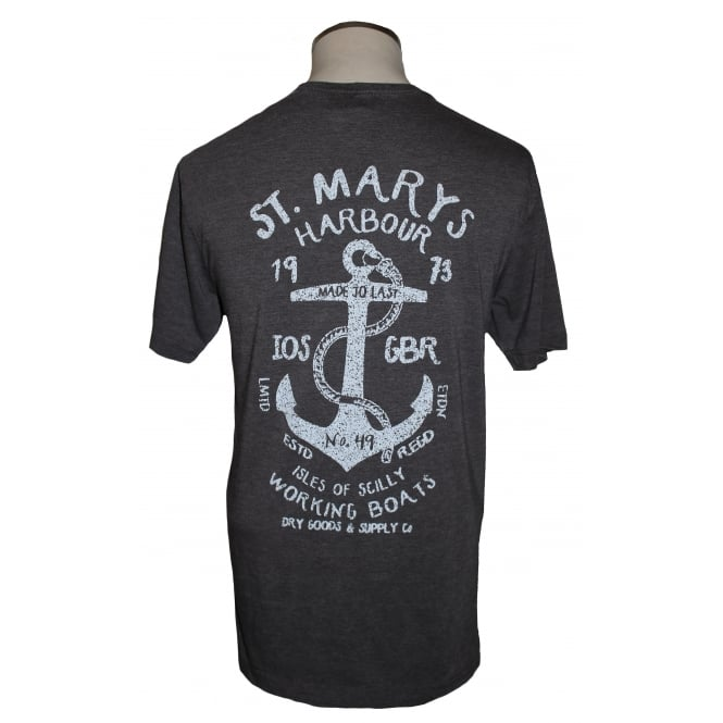 AWDI Mens St Mary's Harbour Tee Washed Charcoal