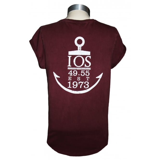 Continental Ladies Anchor Rolled Sleeve T-Shirt Stone Wash Burgundy
