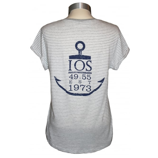 Continental Ladies Anchor Rolled Sleeve T-Shirt Grey Stripe
