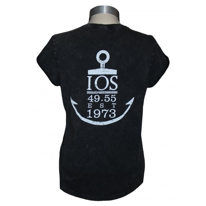Continental Ladies Anchor Rolled Sleeve T-Shirt Stone Acid Black