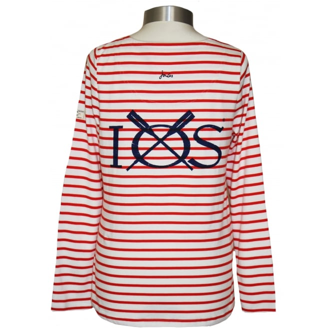 Joules Ladies Harbour Jersey Top Creme Red Stripe