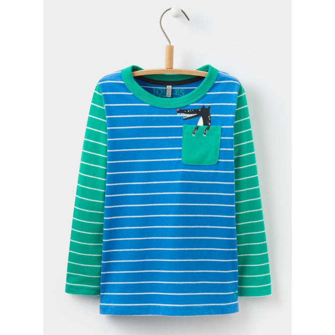 Joules Kids Peeker Jersey Top Ocean Wolf Pocket