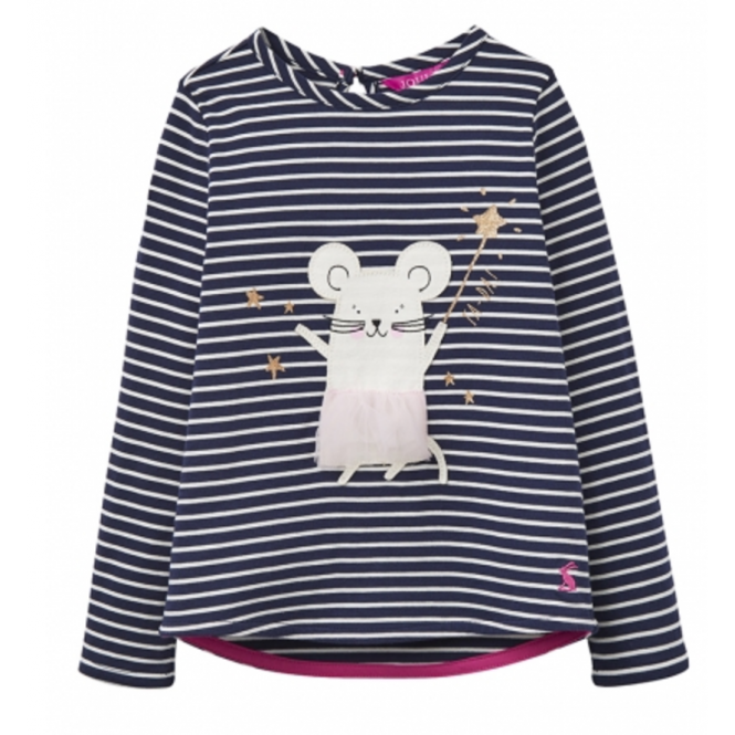 Joules Little Joule Girls' Mouse Print T-Shirt French Navy