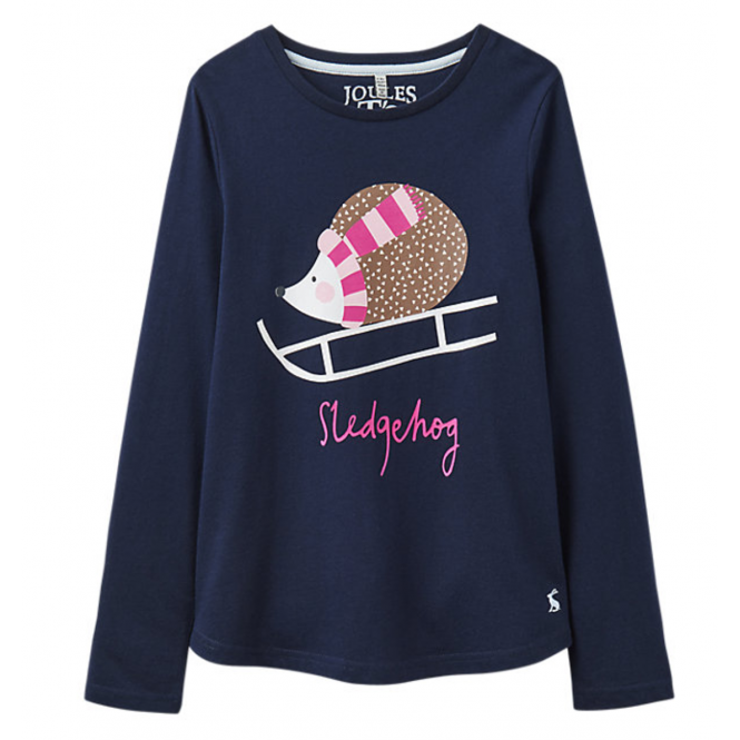 Joules Little Joule Girls' Hedgehog Long Sleeve T-Shirt French Navy