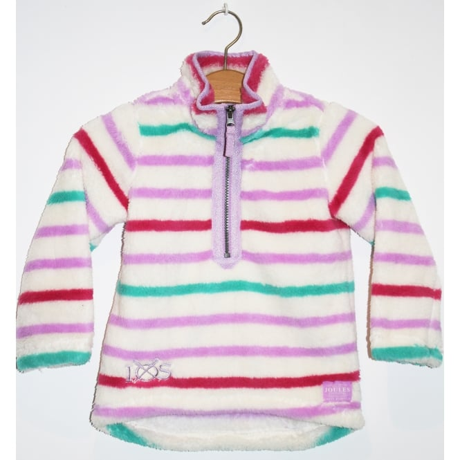Joules Kids Merridie Half Zip Fleece Mauve Multi Stripe