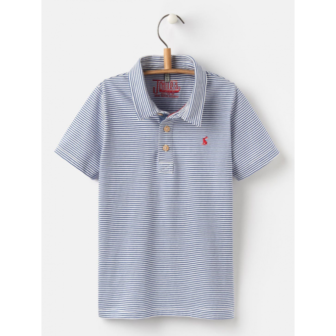 Joules Kids Tom Flag Polo Shirt Blue Stripe
