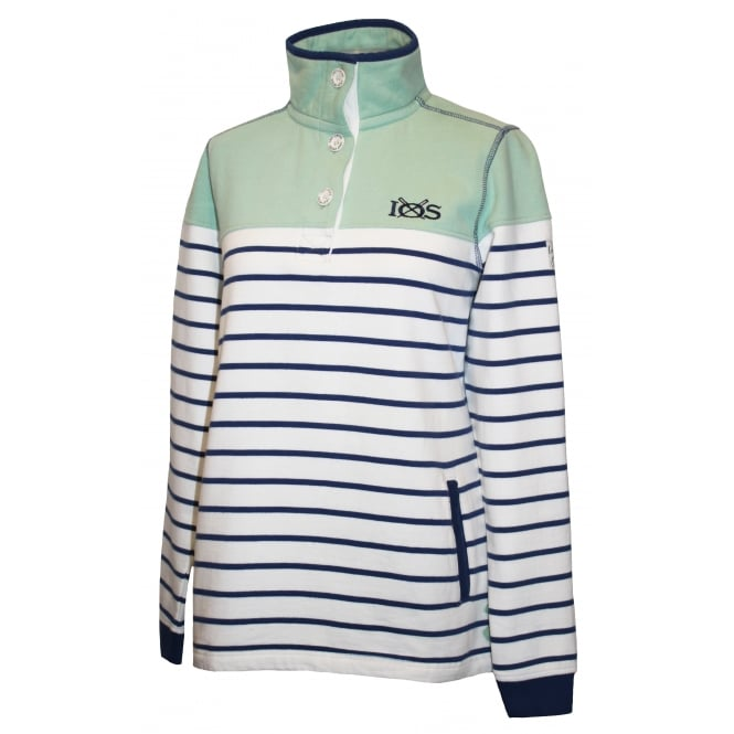 Lazy Jacks Ladies Slim Fit Button Neck Stripe Sweat Chalk Green