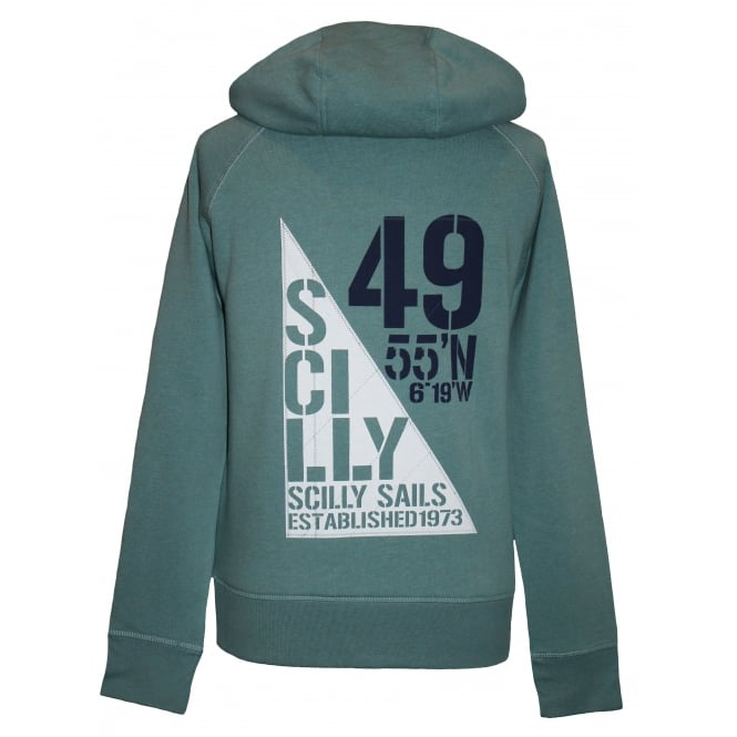 Ladies Sail Flag Organic Cotton Hoodie Eucalyptus