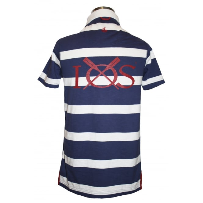 Lazy Jacks Mens Short Sleeve Striped Rugby Shirt Maritime Blue