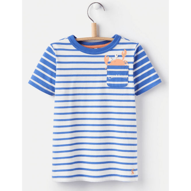 Joules Young Arthur Novelty Pocket T-Shirt Blue Crab
