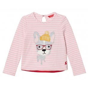 Joules Kids Rose Pink Hipster Dog Ava Appliqué Top