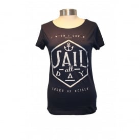Ladies Organic Cotton Sail All Day tee navy