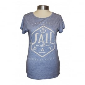 Ladies Organic Cotton Sail All Day tee heather blue