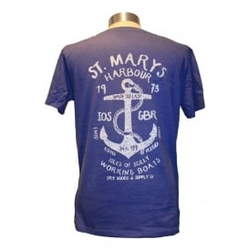 Mens St Marys Harbour Tee Washed Royal Blue