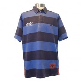 Mens Edwards Heavies Striped Rugby Shirt Washed Navy/blue