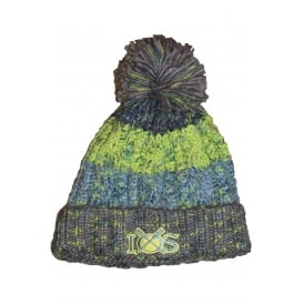 Unisex Corkscrew Pom Pom Beanie Electric Grey & Green
