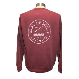 Mens Quality Sweatshirt Washed Burgundy