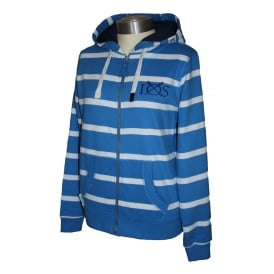 Ladies Fitted Hooded Stripe Full Zip Palace Blue