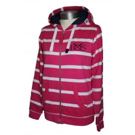 Ladies Fitted Hooded Stripe Full Zip Lipstick