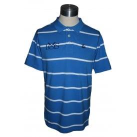 Mens Stripe Polo Shirt Palace Blue