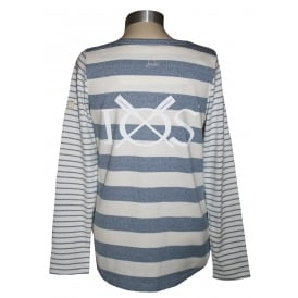 Ladies Harbour Jersey Top Creme Stripe