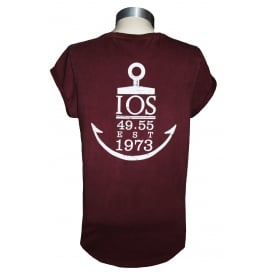 Ladies Anchor Rolled Sleeve T-Shirt Stone Wash Burgundy
