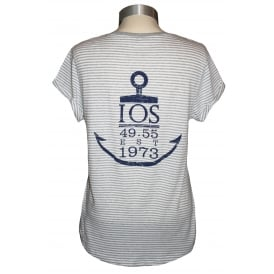 Ladies Anchor Rolled Sleeve T-Shirt Grey Stripe