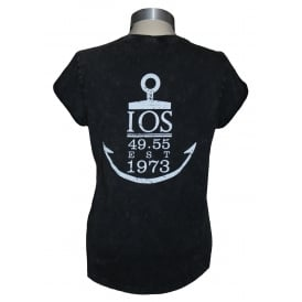 Ladies Anchor Rolled Sleeve T-Shirt Stone Acid Black
