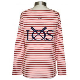 Ladies Harbour Jersey Top Creme Red Stripe