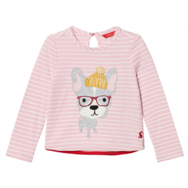Kids Rose Pink Hipster Dog Ava Appliqué Top