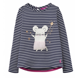 Little Joule Girls' Mouse Print T-Shirt French Navy